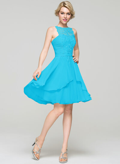 A-Line Scoop Neck Knee-Length Chiffon Homecoming Dress With Cascading Ruffles