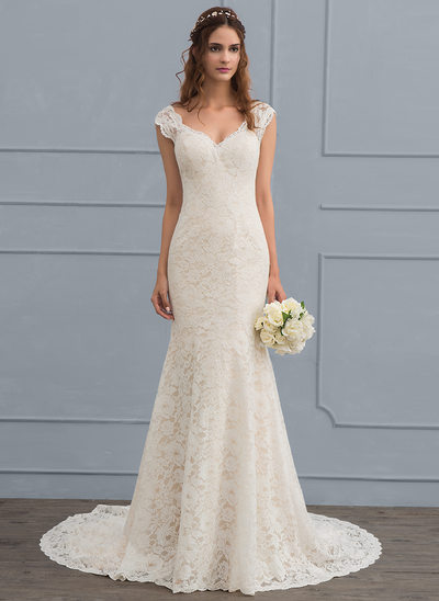 Trumpet Mermaid V Neck Court Train Lace Wedding Dress