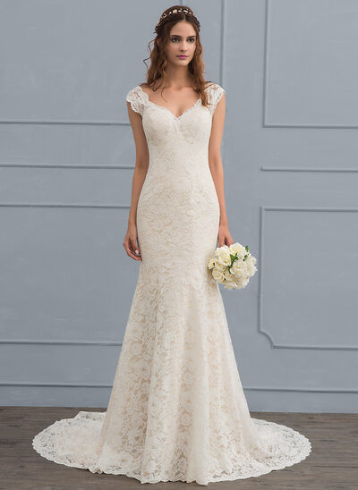 852cf78b05 Trumpet/Mermaid V-neck Court Train Lace Wedding Dress