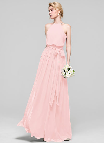 A-Line/Princess Scoop Neck Floor-Length Chiffon Prom Dresses With Bow(s)