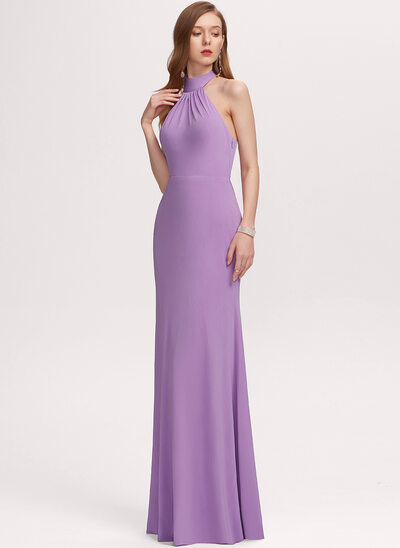 Sheath/Column High Neck Floor-Length Jersey Evening Dress