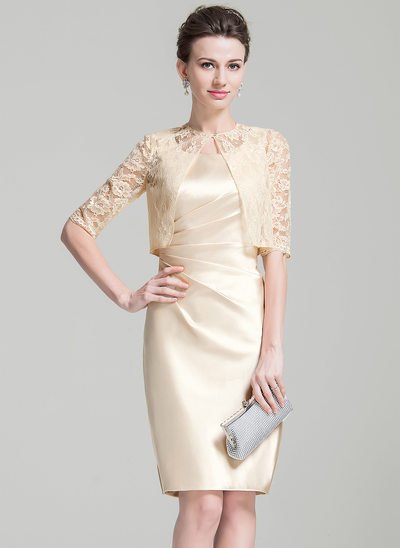 Sheath/Column Square Neckline Knee-Length Charmeuse Mother of the Bride Dress With Ruffle