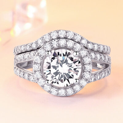925 Sterling Silver With Round Cubic Zirconia Rings/Bridal Sets/Stackable Rings For Bride