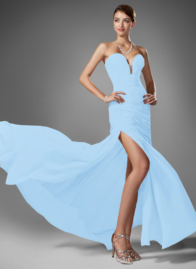 Trumpet/Mermaid Sweetheart Sweep Train Chiffon Prom Dresses With Ruffle Beading Split Front