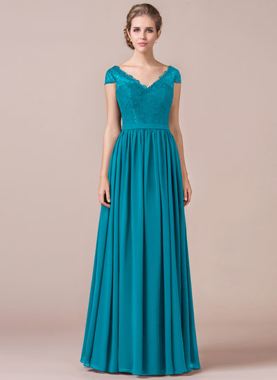 A-Line Cap Sleeve Floor-length Chiffon Bridesmaid Dress With Lace