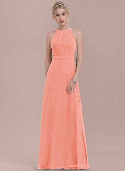 A-Line/Princess Scoop Neck Floor-Length Chiffon Bridesmaid Dress With Ruffle