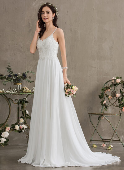 A-Line Sweetheart Sweep Train Chiffon Wedding Dress