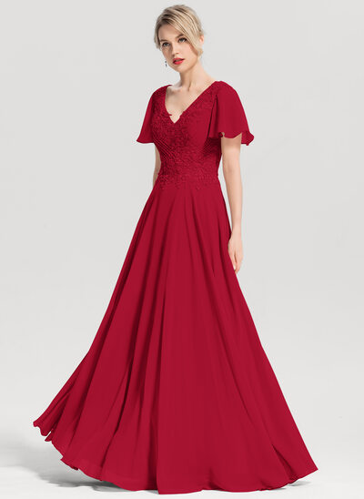 A-Line V-neck Floor-Length Chiffon Evening Dress With Beading