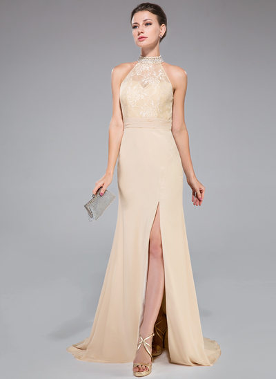 Trumpet/Mermaid High Neck Sweep Train Chiffon Prom Dress With Ruffle Beading Sequins Split Front
