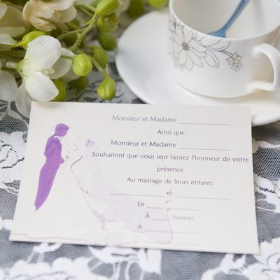 Bride & Groom Style Flat Card Invitation Cards