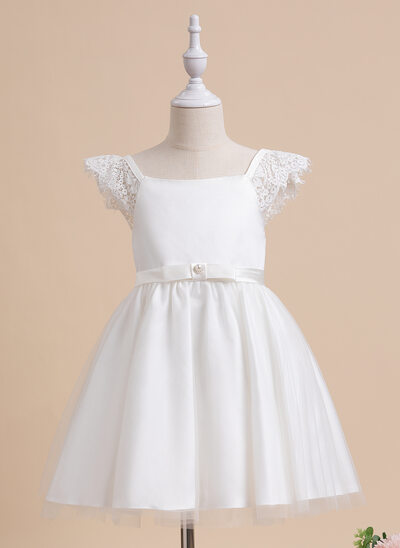 A-Line Knee-length Flower Girl Dress - Sleeveless Scalloped Neck With Bow(s)/Rhinestone