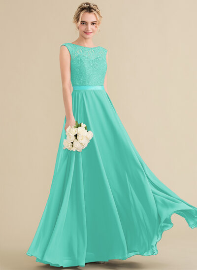 A-Line Scoop Neck Floor-Length Chiffon Lace Bridesmaid Dress With Bow(s)
