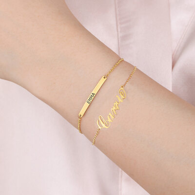 Custom 18k Gold Plated Delicate Chain Bridesmaid Bracelets Name Bracelets Engraved Bracelets - Valentines Gifts For Her