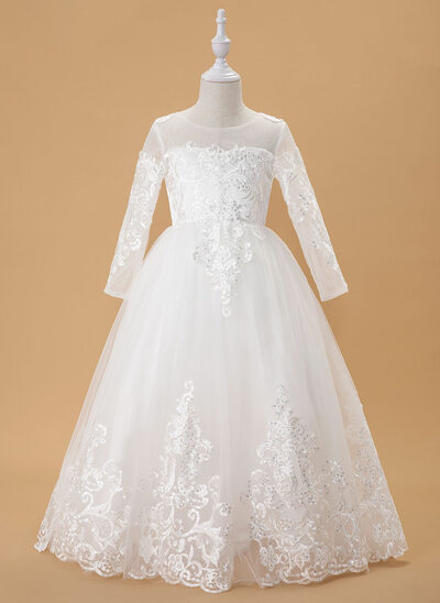 Ball-Gown/Princess Sweep Train Flower Girl Dress - Tulle/Lace Long Sleeves Scoop Neck With Sequins/Bow(s)