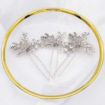 Ladies Stylish Alloy Hairpins With Rhinestone (Set of 3)