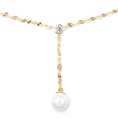 18k Gold Plated Silver Circle Pendant Necklace Pearl Necklace