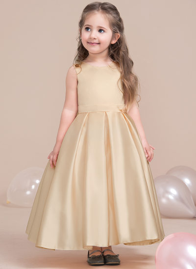 A-Line/Princess Ankle-length Flower Girl Dress - Satin/Lace Sleeveless Scoop Neck (Wrap included)