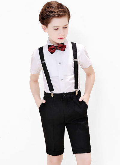 Boys 4 Pieces Formal Ring Bearer Suits /Page Boy Suits With Shirt Bow Tie Suspender Shorts