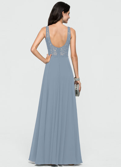 A-Line V-neck Floor-Length Chiffon Evening Dress With Beading Sequins
