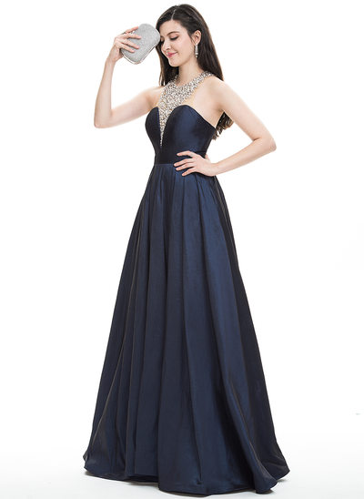 A-Line/Princess Halter Floor-Length Taffeta Prom Dress With Beading Sequins
