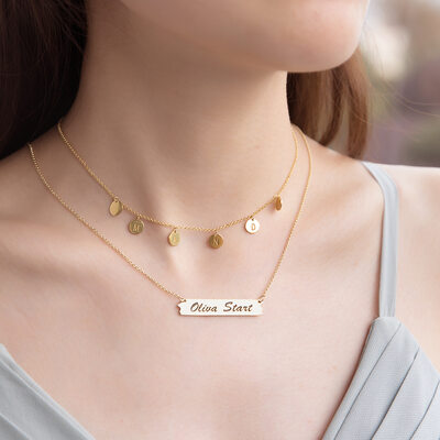 Custom 18k Gold Plated Silver Bar Coin Bar Necklace Circle Necklace Nameplate (Set of 2) - Birthday Gifts Mother's Day Gifts