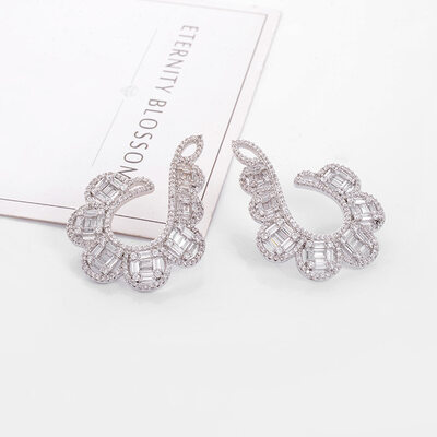 Ladies' Simple Copper/Platinum Plated Cubic Zirconia Earrings For Friends/For Couple