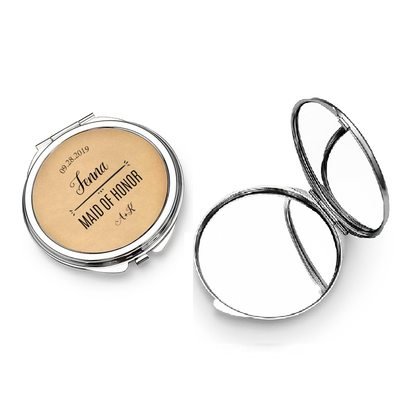 Bridesmaid Gifts - Personalized Elegant Special Eye-catching Stainless Steel Compact Mirror
