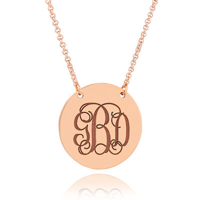 Christmas Gifts For Her - Custom 18k Rose Gold Plated Silver Monogram Necklace Engraved Necklace Circle Necklace