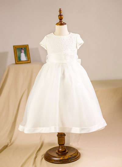 A-Line/Princess Knee-length Flower Girl Dress - Organza/Lace Short Sleeves Scoop Neck With Flower(s)/Bow(s)