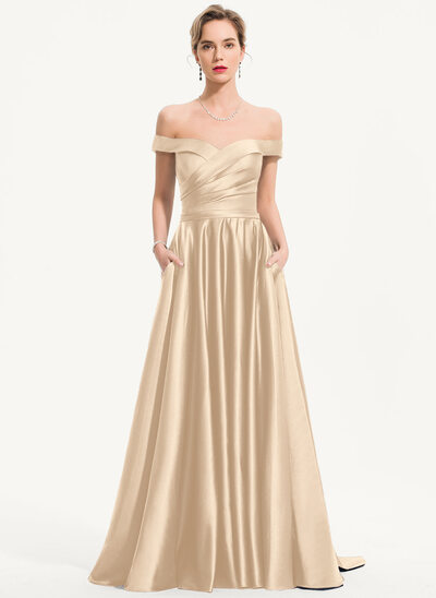 A-Line Off-the-Shoulder Sweep Train Satin Evening Dress With Pockets