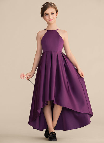 1d625a00fc0 A-Line Princess Scoop Neck Asymmetrical Satin Junior Bridesmaid Dress With  Ruffle
