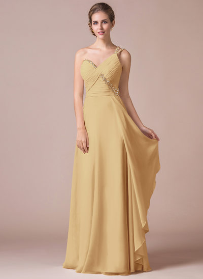 A-Line/Princess One-Shoulder Floor-Length Chiffon Prom Dresses With Ruffle Beading Sequins