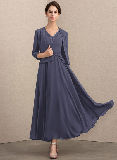 A-Line V-neck Ankle-Length Chiffon Mother of the Bride Dress With Beading Sequins