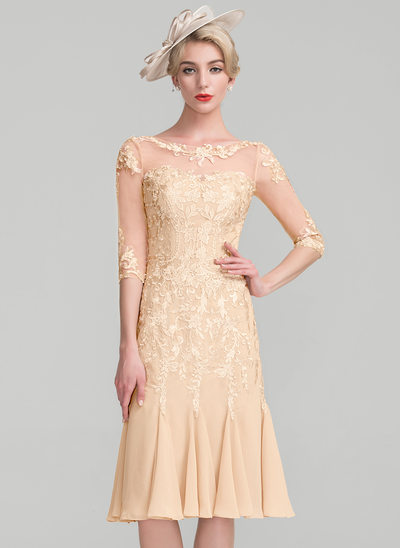 Sheath/Column Scoop Neck Knee-Length Chiffon Lace Cocktail Dress With Beading