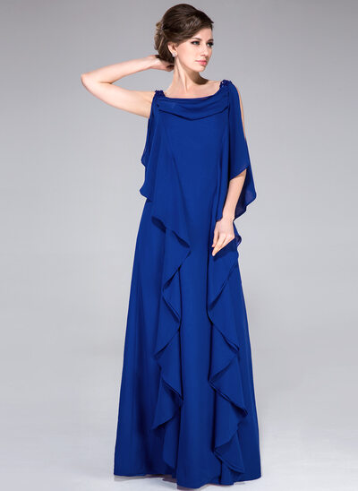 A-Line/Princess Cowl Neck Floor-Length Chiffon Mother of the Bride Dress With Beading Sequins Cascading Ruffles