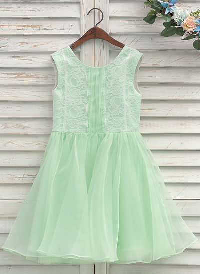 A-Line/Princess Knee-length Flower Girl Dress - Organza/Lace Sleeveless Scoop Neck With Back Hole