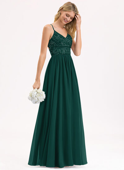 A-Line V-neck Floor-Length Chiffon Lace Bridesmaid Dress With Beading Sequins