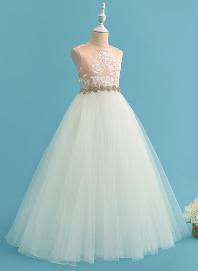 Ball-Gown/Princess Floor-length Flower Girl Dress - Satin/Tulle/Lace Sleeveless Scoop Neck With Beading