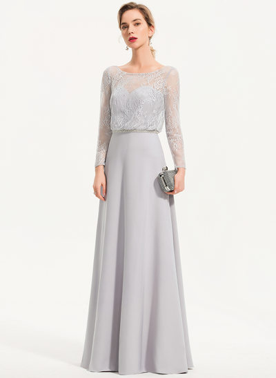 A-Line Scoop Neck Floor-Length Stretch Crepe Evening Dress With Beading
