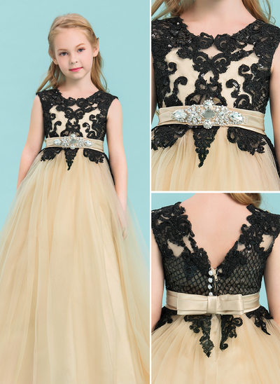 Ball Gown Floor-length Flower Girl Dress - Tulle/Lace Sleeveless Scoop Neck With Beading/Bow(s)/Rhinestone