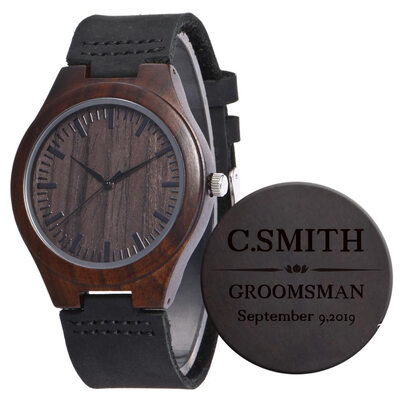 Personalized Mens Custom Engraved Leather Ebony Watches