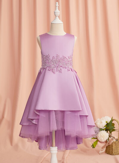 A-Line Asymmetrical Flower Girl Dress - Satin/Tulle Sleeveless Scoop Neck With Lace/Beading/Bow(s)