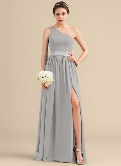 A-Line/Princess One-Shoulder Floor-Length Chiffon Charmeuse Bridesmaid Dress With Ruffle Split Front