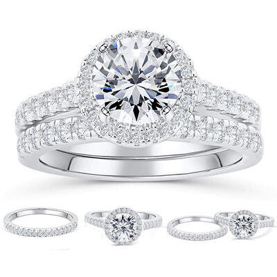 Sterling Silver Cubic Zirconia Halo Round Cut Bridal Sets