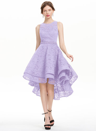 A-Line/Princess Scoop Neck Asymmetrical Lace Homecoming Dress With Beading Sequins