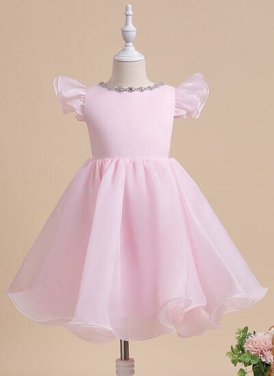 A-Line Knee-length Flower Girl Dress - Short Sleeves Scalloped Neck With Beading/Bow(s)