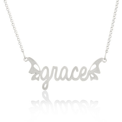 Custom Sterling Silver Name Necklace With Butterfly - Valentines Gifts