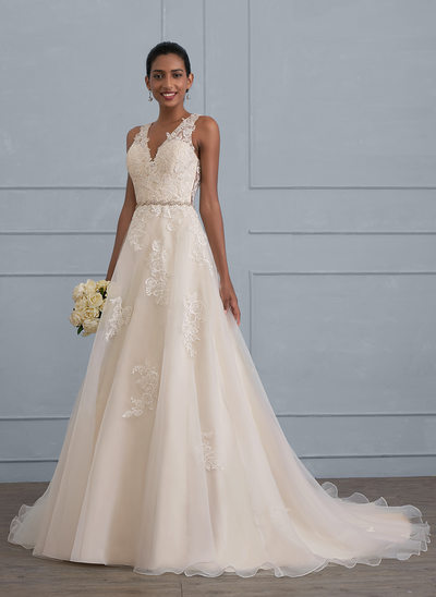 Ball-Gown V-neck Court Train Organza Wedding Dress With Beading