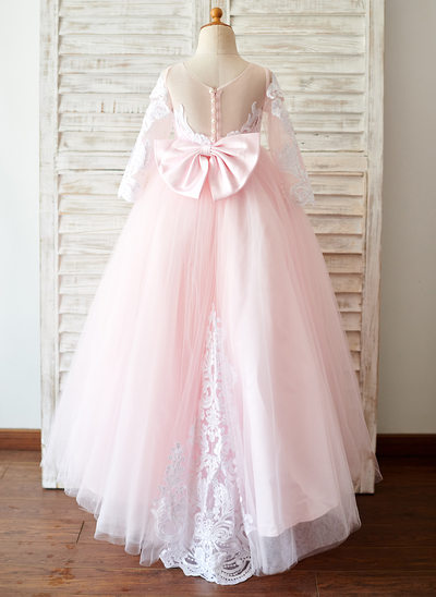 A-Line/Princess Sweep Train Flower Girl Dress - Satin/Tulle/Lace 3/4 Sleeves Scoop Neck With Bow(s)