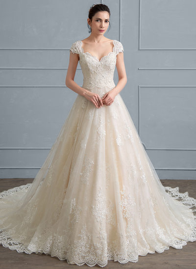 Ball Gown Sweetheart Cathedral Train Tulle Lace Wedding Dress With Beading Sequins